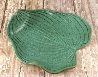 Handmade Pottery Bowl - Decorative Ceramic Hosta Leaf - Weathered Bronze Green Leaf Bowl - 688