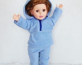 "18 inch Doll's Jogging Suit, 18"" dolls fleece hoodie, fleece doll pants, canvas doll booties, zippered doll hoodie, dolls blue active wear"