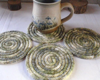 Absorbent Coiled Coasters - Set of 4 for Kitchen, Entertaining, Hostess Gift, Handmade by Me