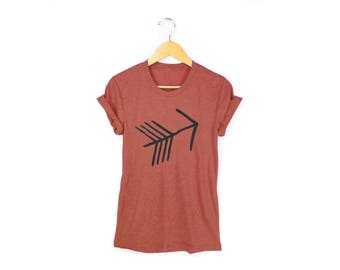 Tribal Arrow Tee - Boyfriend Fit Crew Neck Cotton Tshirt with Rolled Cuffs in Heather Clay and Black - Women's Size S-4XL