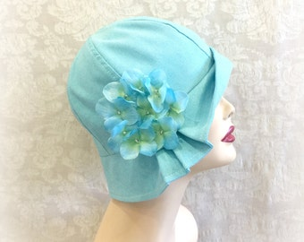 1920s Cloche Hat - Turquoise Flapper Hat - Linen Cloche - Womens Linen Hat - Downton Abbey Cloche - Trendy Cloche - Hat Handmade USA - Polly