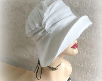 White Linen Cloche - Big Brim Cloche - Linen Cloche Hats - Elegant Cloche Hats - Summer Cloche Hats - Summer Sunhat - Linen Chemo Hats - USA