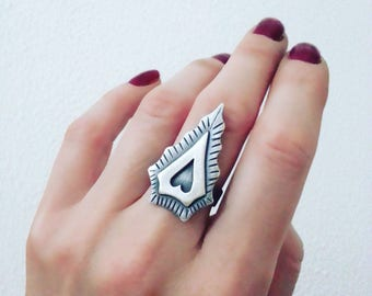 Statement Boho ring Arrowhead ring Heart ring Geometric ring Triangle ring Wide band ring Arrow jewelry Dainty ring Womens gift For her