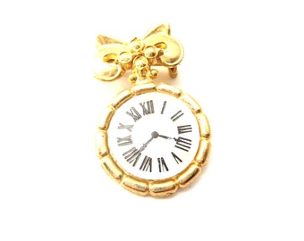 Dainty Unmarked Circular Shaped Gold Tone Metal & Mother of Pearl Roman Numeral Clock Vintage Brooch / Pin