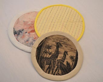 Eco Insulated Round Trivet Hot Pad Recycled Upcycled Fabrics