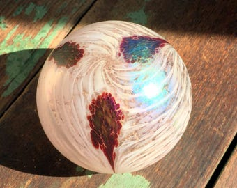 Vintage 1983 Art Glass Paperweight The Glass Eye Studio MSH Feather White Design