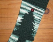 Reserved for Deborah Holiday Stocking Hand Knit Acrylic Christmas Tree Stocking Free US Shipping