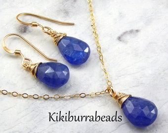 Blue Tanzanite Necklace And Earrings Set,Royal Blue,Wire Wrapped Gemstones,December Birthstone,