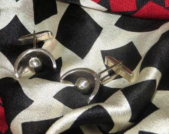 Taxco Mexico Geometric Cufflinks Cuff Links Sterling Silver Pivot Link 925