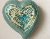 Heart Pod Wall Art Large with Turquoise Center and Blue Glass