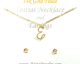 Initial Necklace and Matching Studs Set. Custom 14k Gold Initial Pendant and Post Initial Earrings