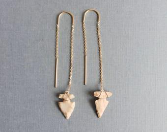 14k Gold Arrowhead Earrings, Gold Threader Earrings, Arrowhead Dangle Earrings, Yellow Gold Long Earrings, Trendy Earrings, Chain Earrings