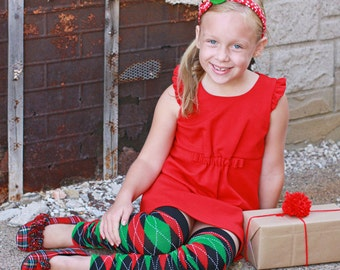 Girls Christmas Argyle Leg Warmers
