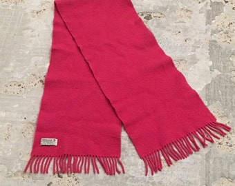 Lambswool Scarf - Hot Pink Scarf - Fringed Ends - Made in Ireland by John Hanly and Co - Irish Wool - Spring Accessory - Bright Cheery Pink