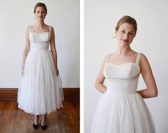 1950s White Beaded Prom Dress - XXS