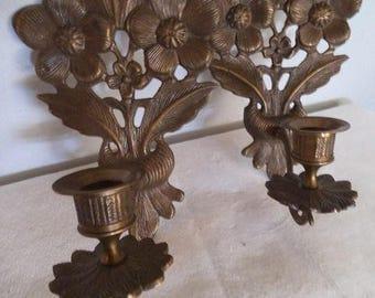 Pair of Vintage Brass Floral Wall sconces ~ Dogwood Ornate floral Taper Sconces