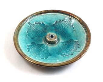 Raku VAJRA INCENSE BURNER Handmade Ceramic Pottery Buddhist