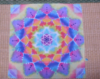 PSYCHeDELIC MaNDALA TIeDYe HANKeRCHIEF - SaCRED GeOMETRY SHiBORI for your Pocket!! - FREE SHiPPiNG!!!!