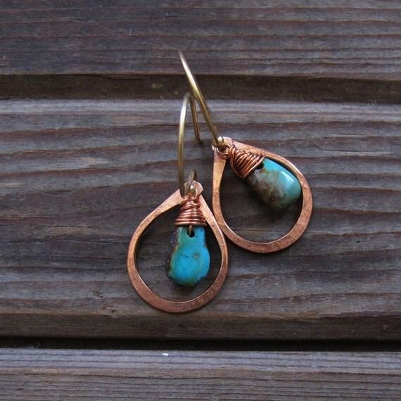 Sundrop - Peach moonstone or Turquoise Earrings - Semi Precious Stone and Copper Teardrop Earrings - Lightweight Jewelry