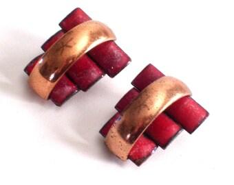 Matisse Renoir Earrings, Matisse Renoir Peter Pan Earrings, Vintage Matisse Red Enamel Copper Modernist Clip Earrings, Matisse Jewellery