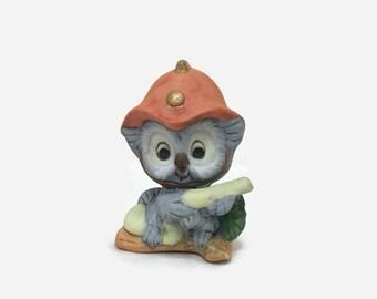 Vintage Small Owl Firefighter Figurine - Bone China - UCGC