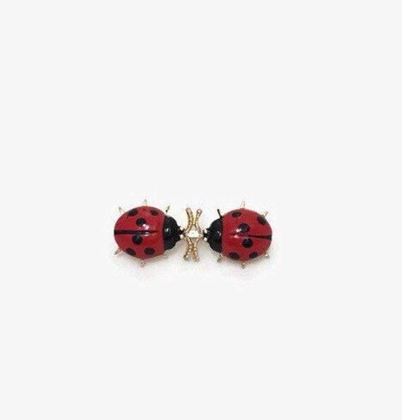 Vintage Ladybug Brooch - Gold Tone Metal