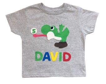 Yoshi Birthday Shirt - Kids Grey T-Shirt - Name and Age - Personalized - Gift