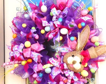 Easter Wreath with Bunny and Easter Eggs, Easter Wreath,Easter Bunny and Eggs Wreath,DecoMesh Easter Wreath,Wreath for Easter