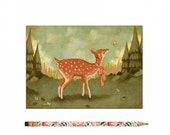 Deer Postcard, Deer Card, Deer, Fawn, Animal Art, Cute, Woodland, Forest, Woods