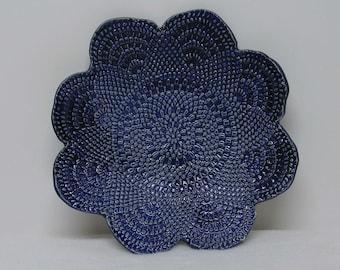 Handbuilt Medium Cobalt Blue Doily Impressed Shallow Bowl