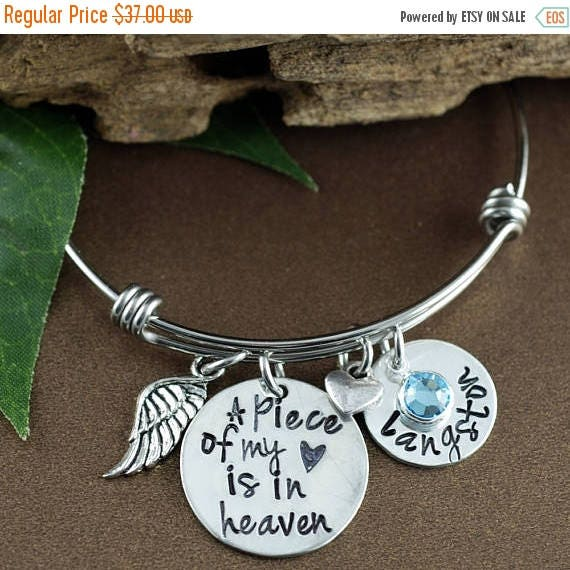 15% OFF SALE A Piece of my Heart Lives in Heaven, Personalized Charm Bracelet, Memorial Miscarriage Bracelet, Remembrance Bracelet, Loss of
