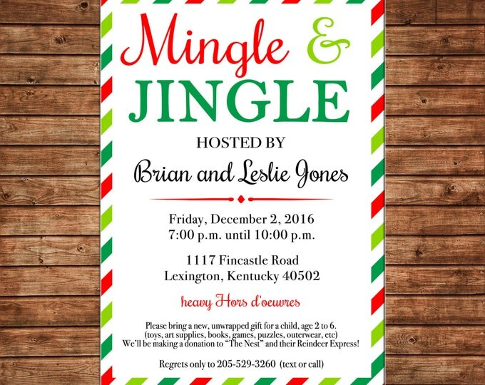Holiday Christmas Mingle Jingle Party Cocktail Appetizers Drinks Adult Open House  Invitation - DIGITAL FILE