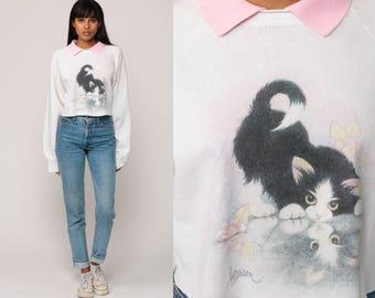 Cat Sweatshirt Kitten 80s Animal Cropped Sweatshirt Crop Top Collared Raglan Sleeve 90s Vintage Slouchy Kawaii Graphic Large
