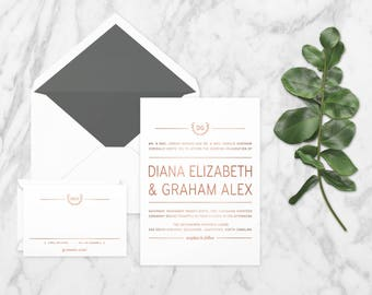 The 'Kimberley' Rustic Modern Wreath Rose Gold Foil Wedding Invitation Suite (Sample)