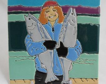 6 x 6 Alaskan Jan B. with Salmons and an easel!