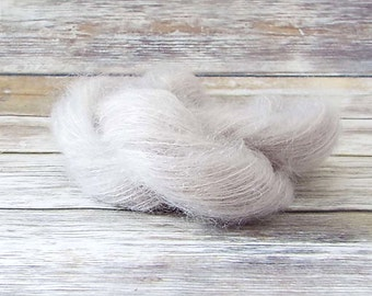 Hand Dyed Mohair Yarn, Brushed Mohair Yarn, Hand Painted Yarn, Lace Yarn, Fuzzy Yarn, Knitting Yarn, Baby Prop Yarn,  Sand