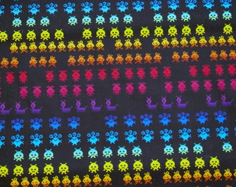 Timeless Treasures Pocket Arcade Space Invaders Cotton Fabric - 1 yard