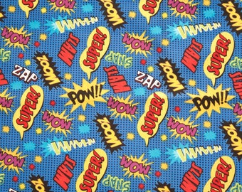 Comic Words Pow Superhero Cotton Fabric - 5/8 yard