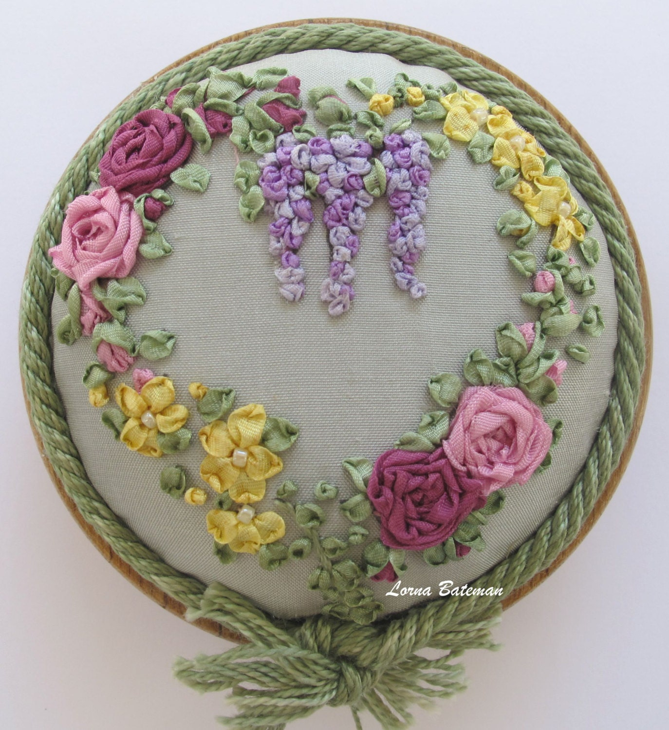 Sale silk ribbon embroidery pp roses and by lornabateman