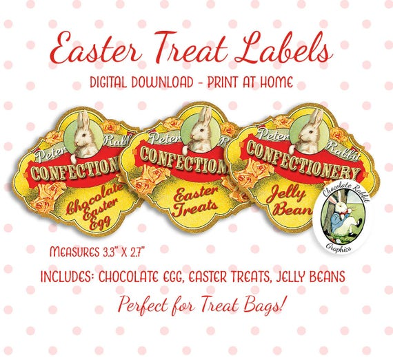 Easter Labels Treat Bags Tags Digital Download Printable Vintage Style Jelly Beans Candy Labels Clip Art Image Graphics Scrapbook Clipart