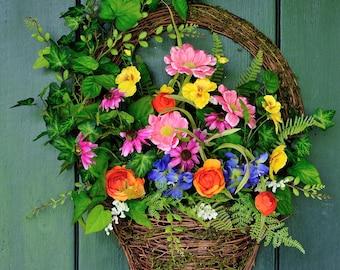Summer Garden Wreath, Summer Wreath, Garden Party, Garden Basket, Spring Wreath, Mother's Day, Easter, Spring, Summer, Garden, Basket