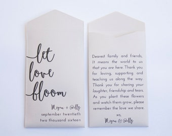 Gray Let Love Bloom Custom Seed Packet Wedding Favors - Personalized Seed Packet Wedding Favor - Unique Favor - Many Colors Available