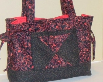 Quilted Tote Bag Handbag Purse in Red and Black Print and Ready to Ship