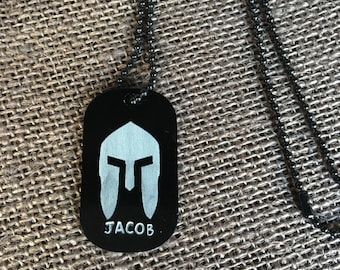 Spartan race helmet dog tag necklace custom name