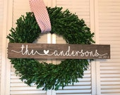 Family Name Sign with Heart - valentine anniversary wedding decor