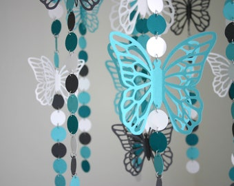 Butterfly Baby Mobile in Teal and Gray