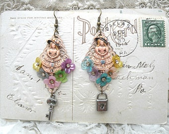 flower girl earrings assemblage southern belle romantic floral lock key girly romantic cottage chic mismatched
