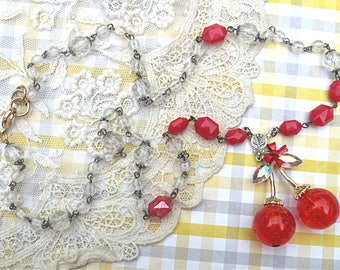 summer cherry assemblage necklace romantic recycled vintage jewelry fruit gardener cottage chic red