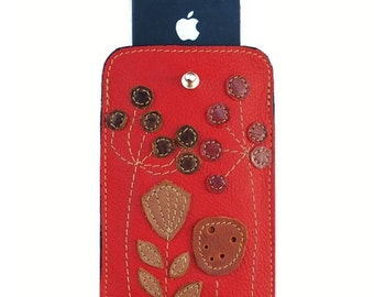 SALE leather iPhone 5 Case poppy red iphone 5 case for women iPhone SE Cover floral iphone sleeve purple iphone 5s case itouch autumns finds