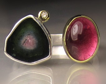 Watermelon Tourmaline Ring, Pink Tourmaline Ring, 18k Gold and Sterling Silver, Open Stone Cocktail Ring - size 6.5